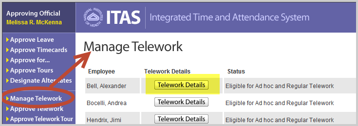 ITAS manage telework for LAOs